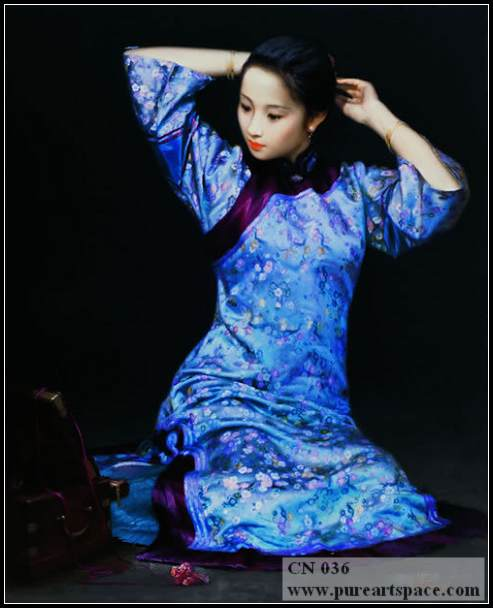 chinese lady oil painting