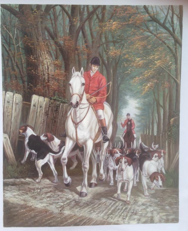 Hunting dogs art painting on canvas